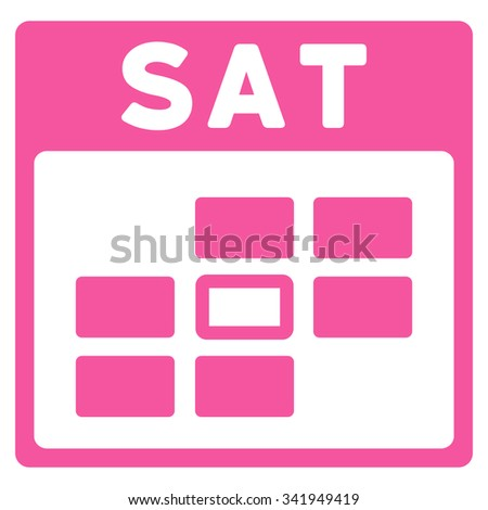 Saturday vector icon. Style is flat symbol, pink color, rounded angles, white background. - stock vector