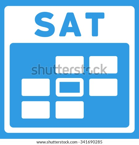 Saturday vector icon. Style is flat symbol, white color, rounded angles, blue background. - stock vector