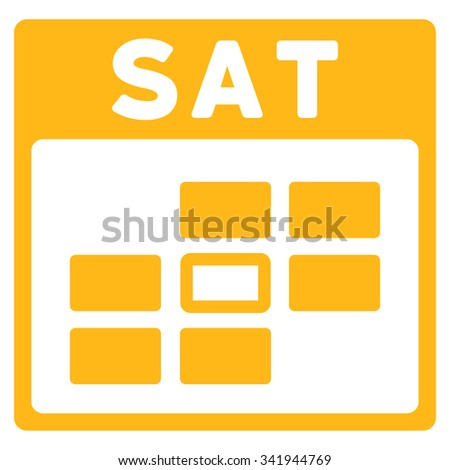 Saturday vector icon. Style is flat symbol, yellow color, rounded angles, white background. - stock vector