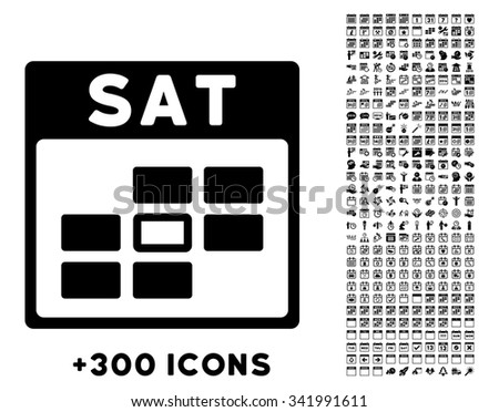 Saturday vector pictogram with additional 300 date and time management icons. Style is flat symbols, black color, rounded angles, white background. - stock vector