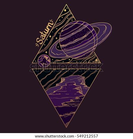 Saturn Planets Stars Solar System Symbols Stock Vector 549212557