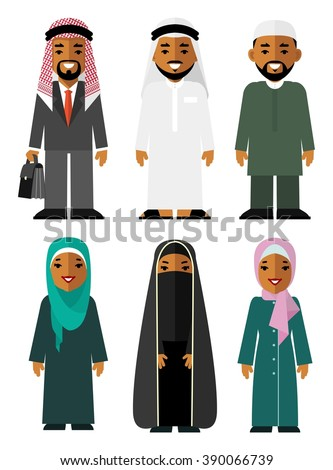 Saudi arab people characters stand set in flat style isolated on white background. Different arabic ethnic man and woman smiling characters in traditional clothing - stock vector