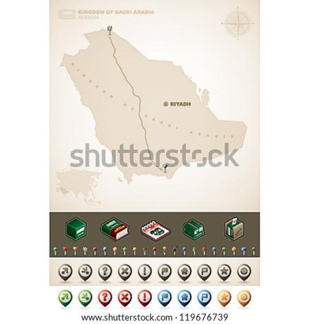 Saudi Arabia and Asia maps, plus extra set of isometric icons & cartography symbols set - stock vector
