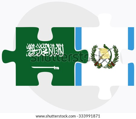 Saudi Arabia and Guatemala Flags in puzzle isolated on white background