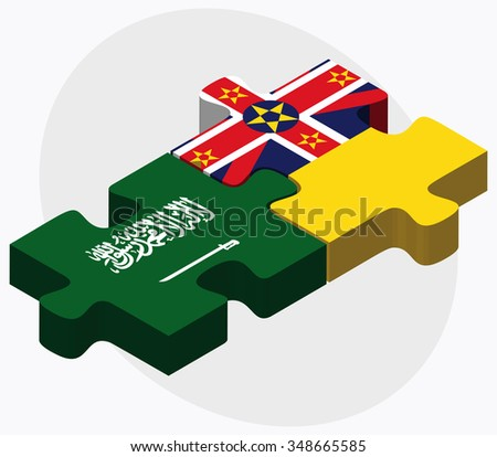 Saudi Arabia and Niue Flags in puzzle isolated on white background