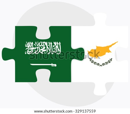 Saudi Arabia and Republic of Cyprus Flags in puzzle isolated on white background