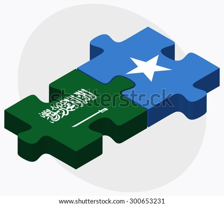 Saudi Arabia and Somalia Flags in puzzle isolated on white background