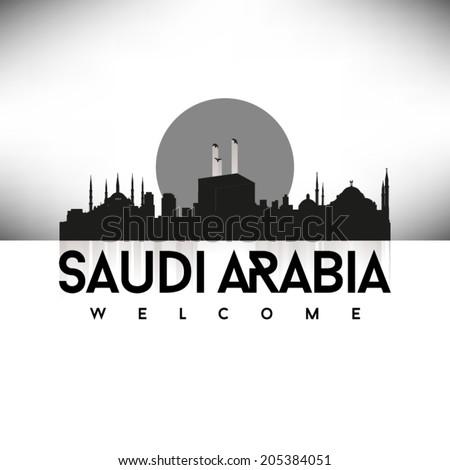 Saudi Arabia, Black Skyline Design, vector illustration. Typographic city silhouette - stock vector