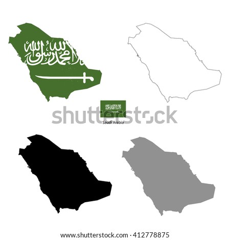 Saudi Arabia country black silhouette and with flag on background, isolated on white - stock vector