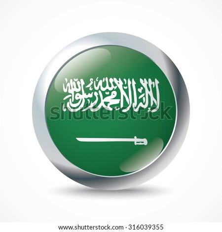 Saudi Arabia flag button - vector illustration - stock vector