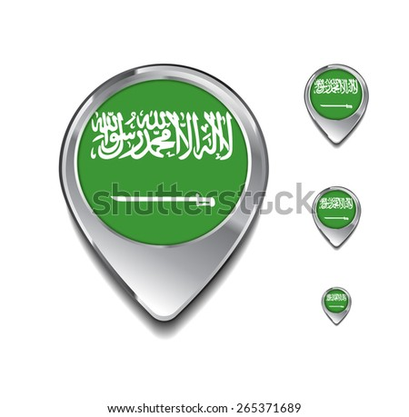Saudi Arabia flag map pointer. 3d Map Pointer with flag glossy button style on gray background - stock vector