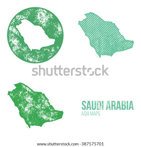 Saudi Arabia Grunge Retro Maps - Asia - Three silhouettes Saudi Arabia maps with different unique letterpress vector textures - Infographic and geography resource