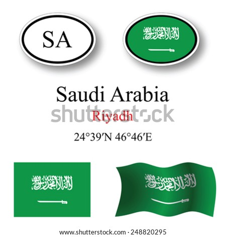 saudi arabia icons set against white background, abstract vector art illustration, image contains transparency - stock vector