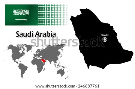 Saudi Arabia info graphic with flag , location in world map, Map and the capital ,Riyadh, location.(EPS10 Separate part by part) - stock vector