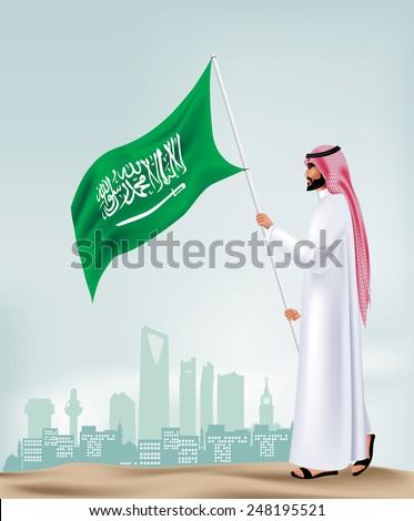 Saudi Arabia Man Holding Flag in the City. Editable Vector Illustration - stock vector