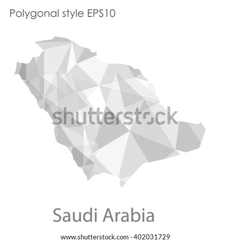 Saudi Arabia map in geometric polygonal style.Abstract gems triangle,modern design background. - stock vector
