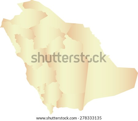 Saudi Arabia map outlines with boundaries or polygons of provinces or states or counties, vector map of Saudi Arabia in contrasted light color - stock vector