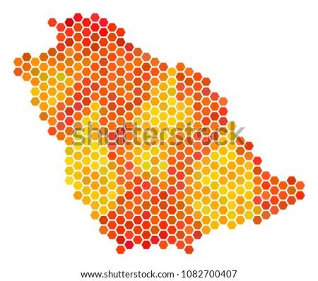 saudi arabia map vector hex tile stock vector 1082700407 shutterstock