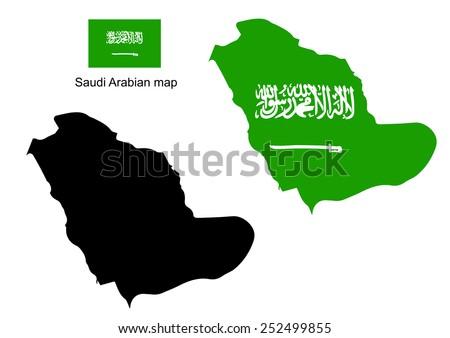 Saudi arabia map vector, Saudi arabia flag vector - stock vector