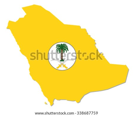 saudi arabia map with coat of arms - stock vector