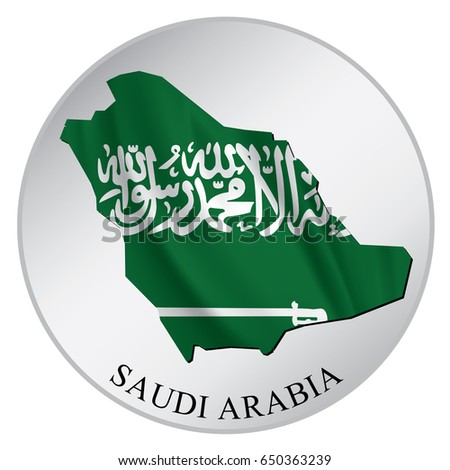 Saudi Arabia Vector Sticker With Flag and Map. Label, Round Tag With Country Name.