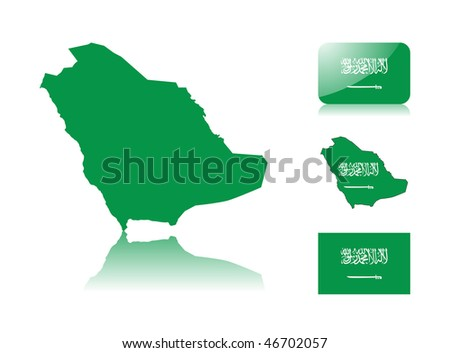 Saudi Arabian map including: map with reflection, map in flag colors, glossy and normal flag of Saudi Arabia. - stock vector