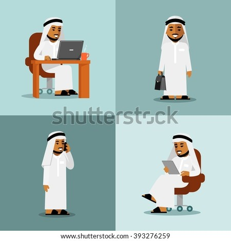 Saudi arabic businessman concept set. Young saudi arabic man in computer, tablet pc and smartphone business internet working - stock vector