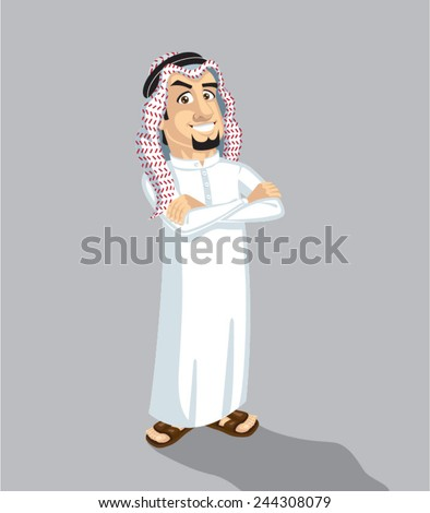 Saudi man happy - stock vector