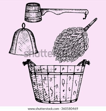 Sauna accessories: broom, wooden bucket, hat and wooden scoop, doodle style, sketch illustration, hand drawn, vector - stock vector
