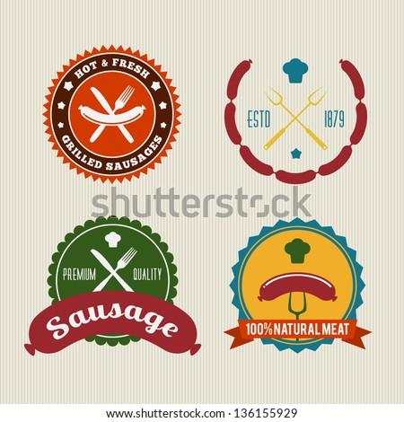 Sausage badges vintage vector set - stock vector