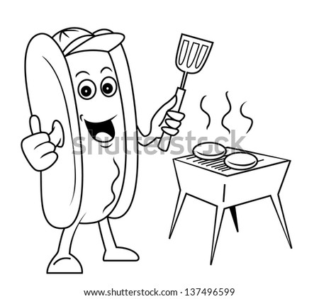 sausage fried - stock vector