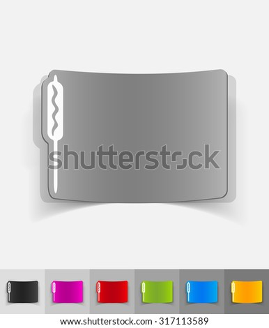 sausage paper sticker with shadow. Vector illustration