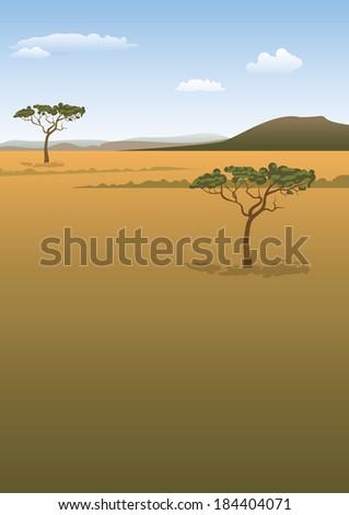 Savanna landscape background - stock vector