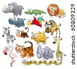 Savannah animal family. Funny cartoon and vector characters. - stock vector