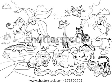 Savannah animal family with background in black and white. Cartoon vector illustration. - stock vector