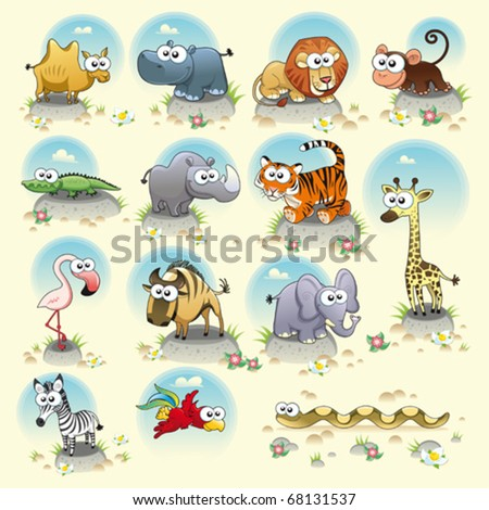 Savannah animals. Funny cartoon and vector characters. Isolated objects - stock vector