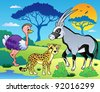 Savannah scenery with animals 7 - vector illustration. - stock vector