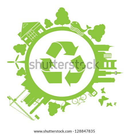 save earth green - stock vector