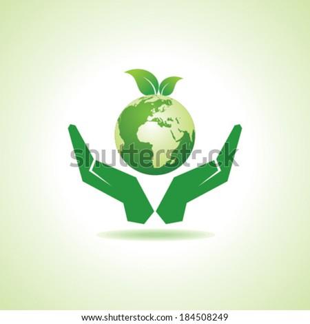 save earth or go green concept vector - stock vector
