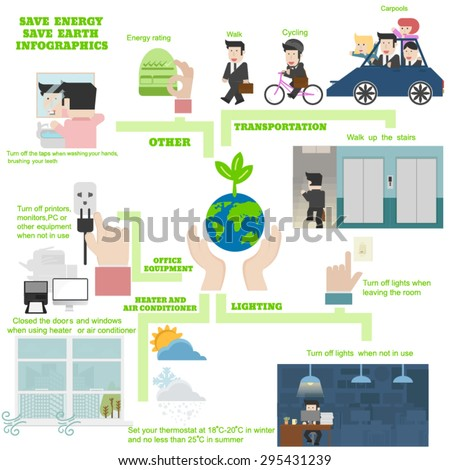 Save Energy And Save Earth Infographics - stock vector