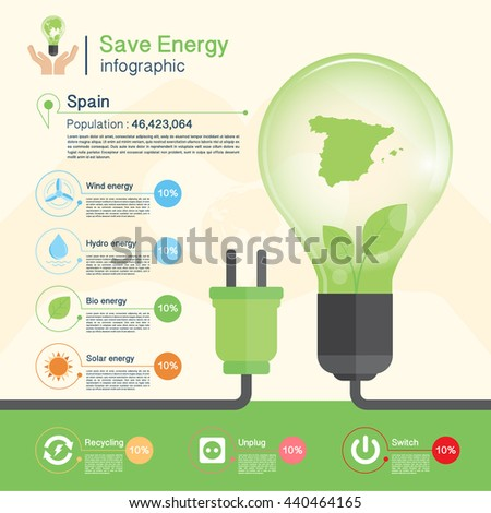 Save energy concept,environment,Spain map
