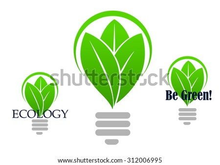 Save energy icon with with a stylized light bulb incorporating green leaves in three variants, one with no text, other with caption