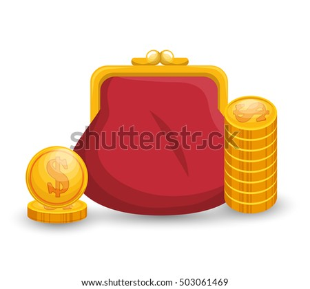 save money bag with currency gold
