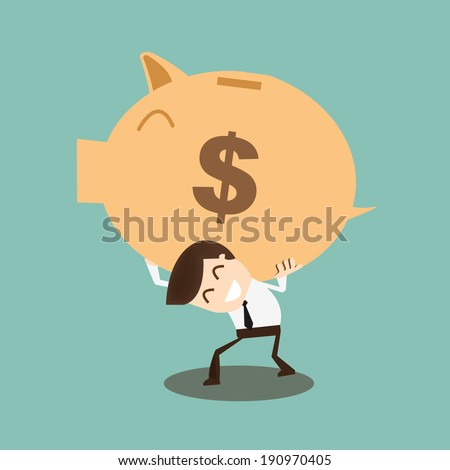 Save money concept -  Businessman carrying big piggy bank on his shoulders