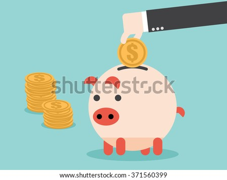 Save money in piggy bank. Flat design for business financial marketing banking advertisement office people property in minimal concept cartoon illustration. - stock vector