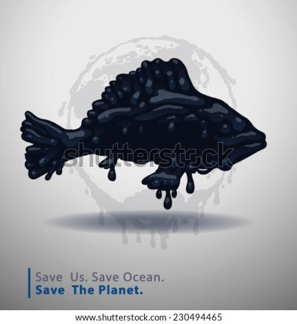 Save Ocean. vector - stock vector