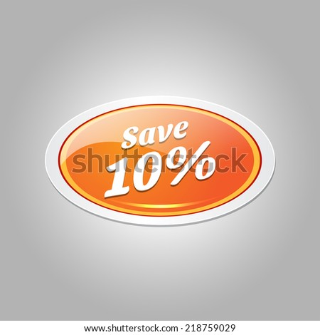 Save 10 Percent Glossy Shiny Elliptical Vector Button