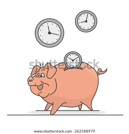 Save piggy who watches you are inserting instead of coins. - stock vector
