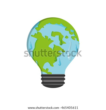 save planet bulb earth ecology icon. Isolated and flat illustration. Vector graphic