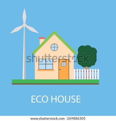 Save planet ecosystem green ecological energy technology house  flat icon vector illustration - stock vector